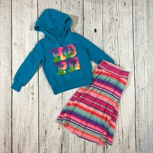 Girls Summer Hoodie and Knit Maxi Skirt